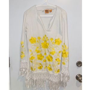 Tory Burch white top with yellow embroidery